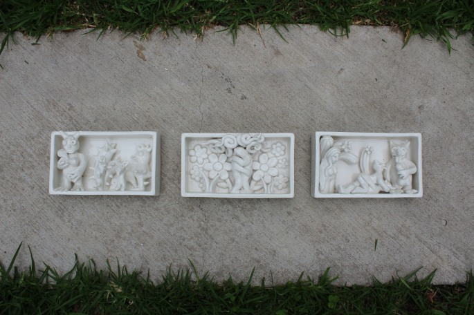 Tríptico del Infierno y el paraíso, Modelado en Cerámica, Porcelana,14x8 cm  C/U, 2013
