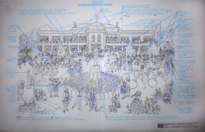 PROYECTO MURAL PARA LA UNIVERSIDAD SUPERIOR DE LAS ARTES 2011-2012     Boceto para la propuesta de mural para la Universidad Superior de las Artes Esfero sobre papel plano 100x70 cmts 2011
