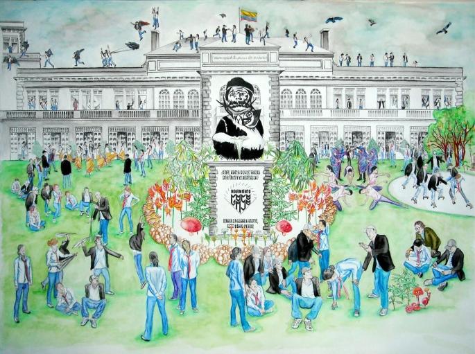 Propuesta de mural para la Universidad Superior de las Artes Acuarela, lápiz sobre cartulina 100x70 cmts 2011