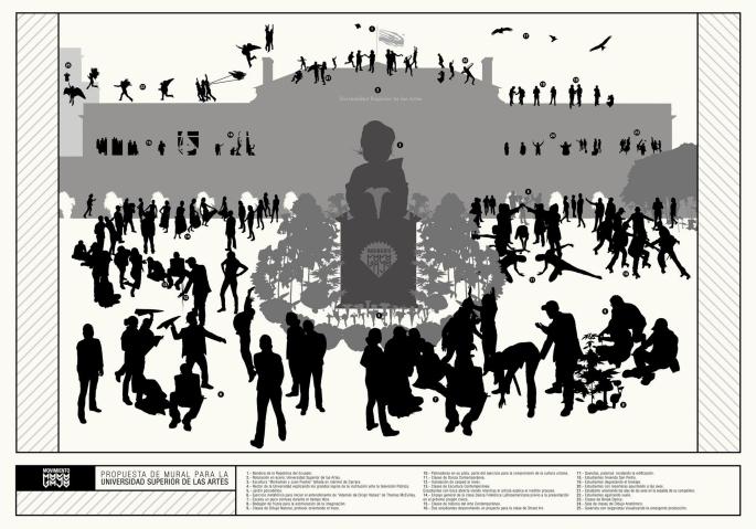 Descripción de la propuesta de mural para la Universidad Superior de las Artes Impresión digital sobre cartulina 100x70 cmts 2011