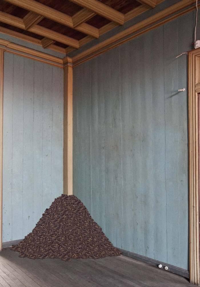 Bed of bones, installation, resin and fiber glass bones. 2012
