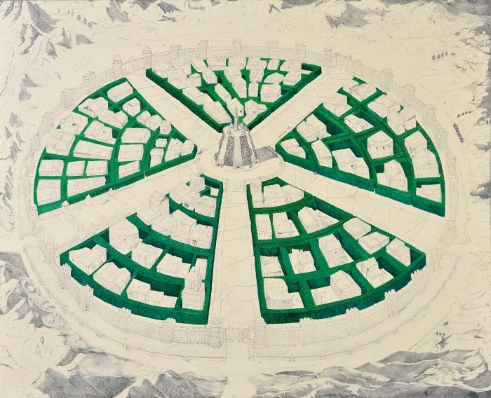 """Ciudad de la verdad (De la serie """"Hortus Gardinus"""") Grafito y acrílico sobre lienzo 200 x 150 cm."""
