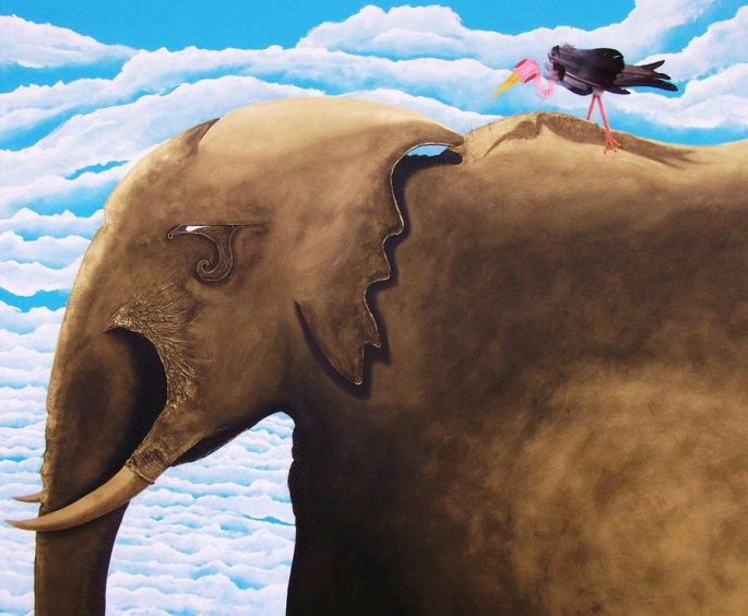 """""""An Elefant"""" - painting -122x153cm - acrylic and metal paint on canvas"""