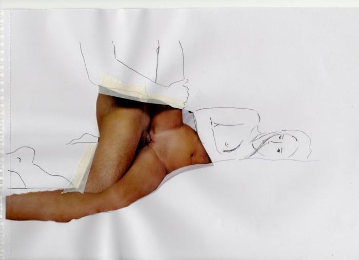 """""""Dos Monitos"""" - collage, tinta sobre papel."""