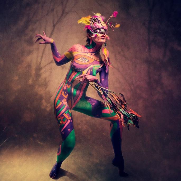 """cuerpo pintado,""""Mujer ave"""", pintura corporal, 2015"""
