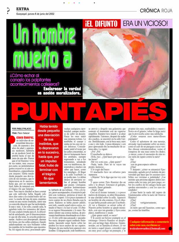 Textículos Revueltos Inserción de Arte en la Esfera Pública Evento: Ataque de Alas, Primer Programa de Inserción de Arte en la Esfera Pública en el Ecuador Autor: Falco (fernando falconí) Año: 2002