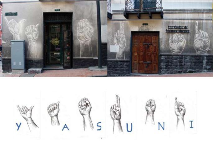 SERIE BORRADORES: «Yasuni» Dibujo-performance-intervención Encuentro de performance y espacio público «Quito-Québec, La Karakola, Quito-Ecuador 2014