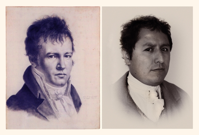 Humboldt 2.0, autorretrato A.V. Humboldt (1815) / retrato por Gonzalo Vargas (2012). ©Archivo Alexander von Humboldt