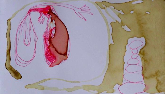 La mano del hígado 10x21cm 2012 café sangre y bolígrafo