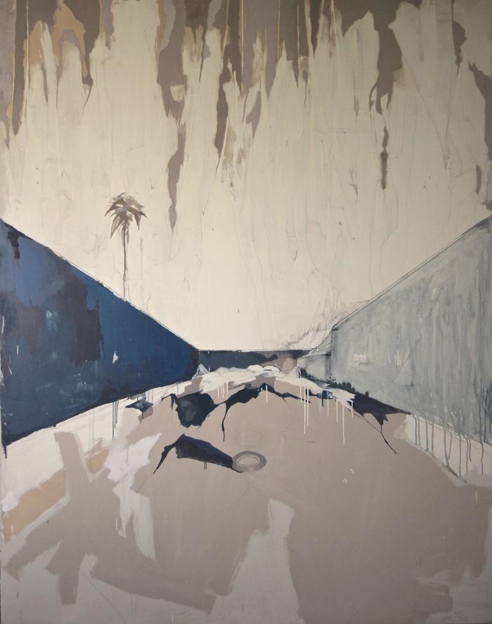 """""""1995 II"""" (serie Playa de los Muertos) Óleo, pintura latex y grafito sobre lienzo / 190x240 / 2015"""