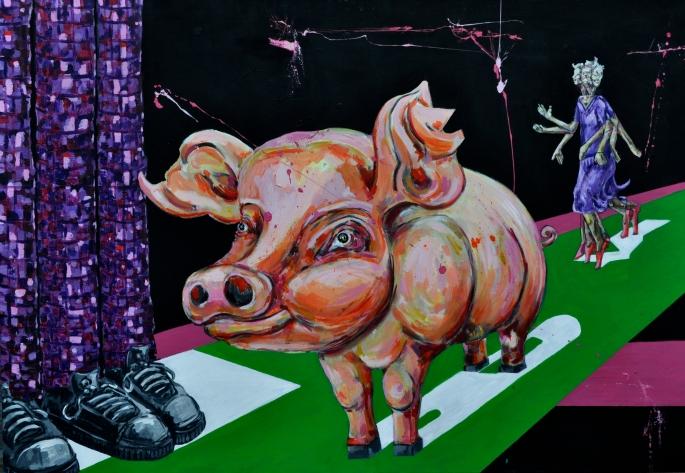 Tributo a George Orwell Acrílico y tinta china sobre lienzo 120 x 60 2014