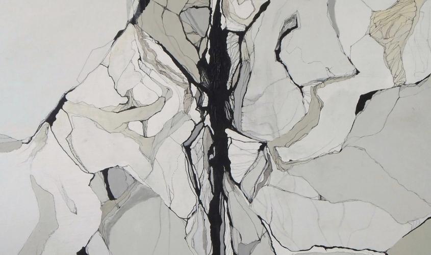 """""""La Máquina del Edén"""" (Fragmento) Acrílico, grafito y tinta sobre lienzo / 150x540cm / 2013-2015"""