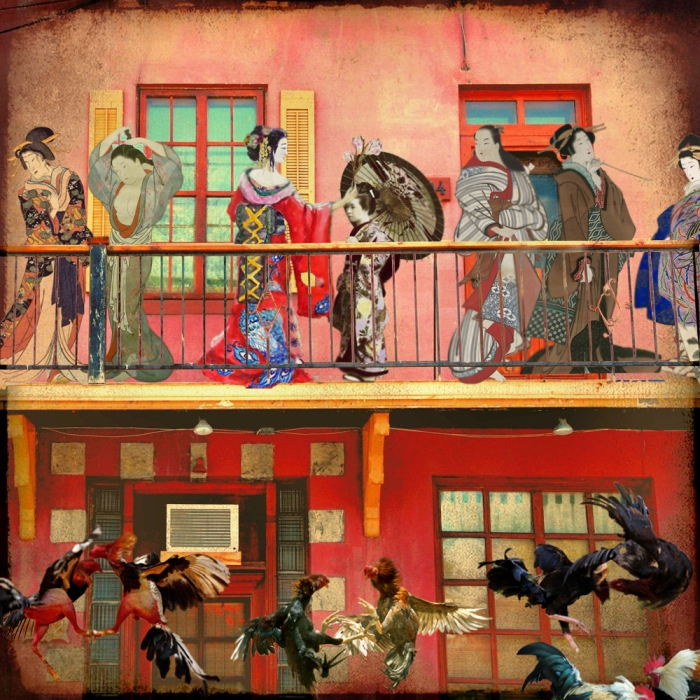 Pelea de geishas, collage digital, 2013