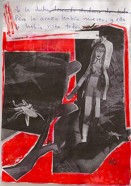 el té de ají (colaboración con coli-brí), femmage, 10 x 15 cm, 2014