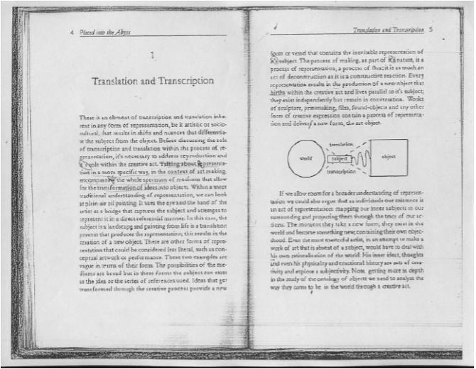 """Mistranslations Within """"Placed into the Abyss"""" by Piero Mena, 2015. (Fotocopia de página dibujada a mano de libro ficticio) 8,5 x 11 pulgadas."""