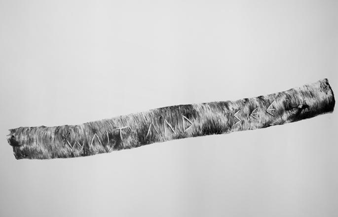 Proceso de Mitificación, 2015. (Carbón de rama quemada sobre papel Fabriano) 67 x 48 pulgadas