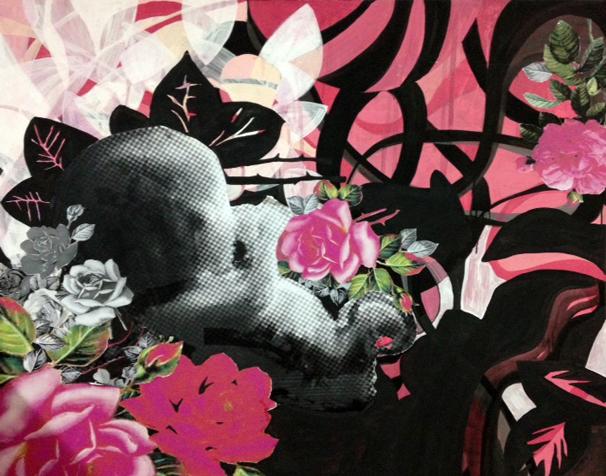 Endriago, Pintura acrílica, Collage sobre lienzo, 165cmx145cm, 2014