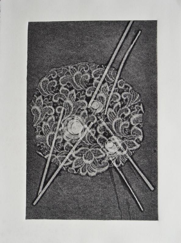 Cinegética de Ovocitos 2, impresión de monotipo a presión sobre cartulina Rives BFK, 2103