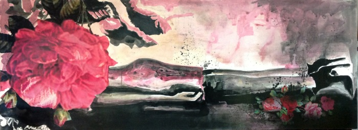 Femicidio boca abajo, ink, spray and collage, 60cm x 150cm, 2013 OBRA 8