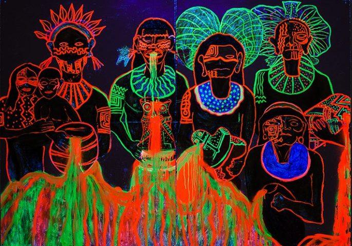 """""""AGUA"""", Oléo, Acrilico, Pintura Esmalte, spray fosforescente, sobre papel madera.  2 . 60cm, x 1.70cm"""
