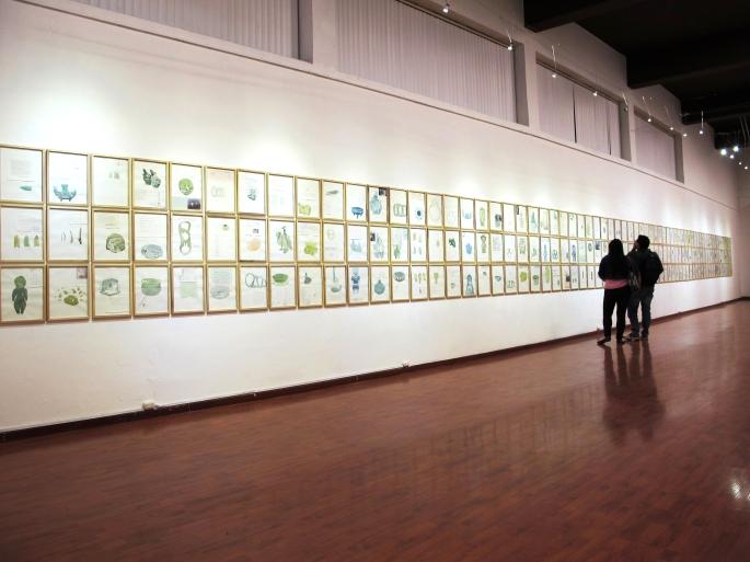 Bureau Instalación (198 dibujos,acuarela, collage) Dimensiones variables 2014