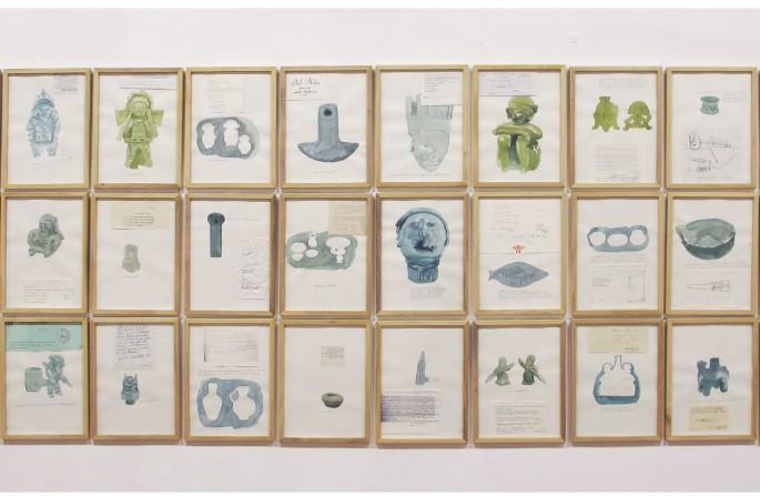 Bureau (detalle) Instalación (198 dibujos, acuarela, collage) Dimensiones variables 2014