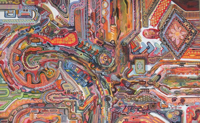 Paisaje actual según un sueño de Nostradamus  Técnica: Acrílico sobre tabla  Dimensiones: 23 x 37 cm  Año: 2015