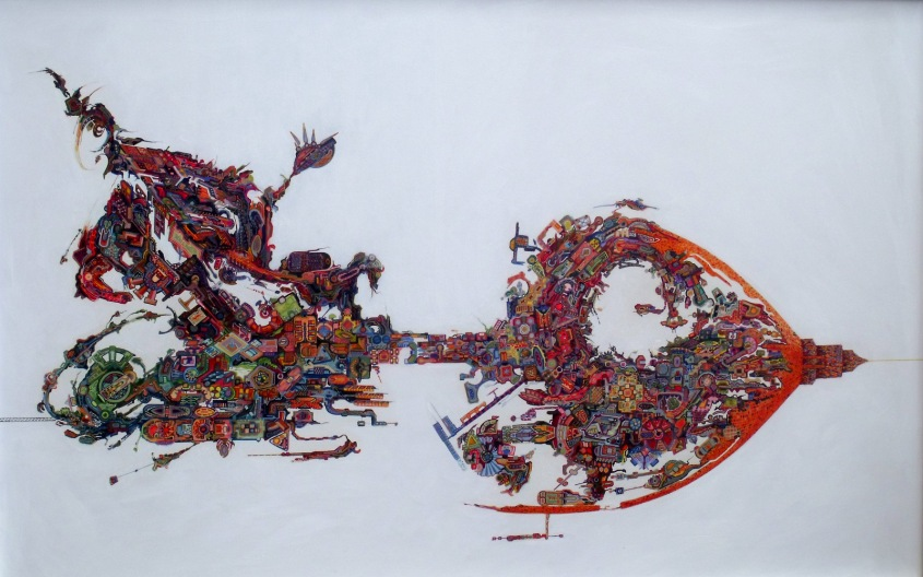 Título: Antropoceno  Técnica: Acrílico sobre tabla  Dimensiones: 84 x 53 cm Año: 2015