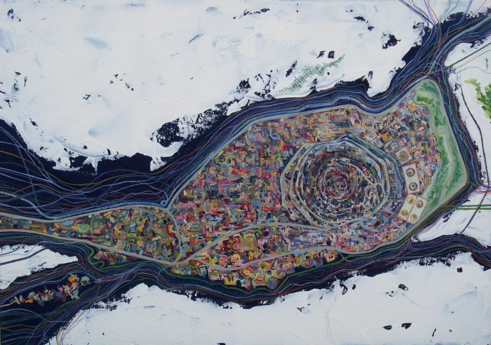 Título: Mapa catastral que registra la migración del hielo Técnica: Óleo sobre lienzo Dimensiones: 42 x 30 cm Año: 2015